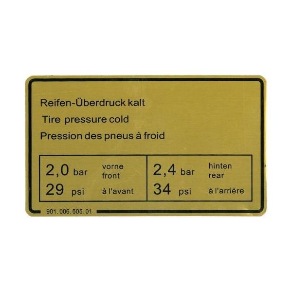 Etiquette adhesive, pression de gonflage