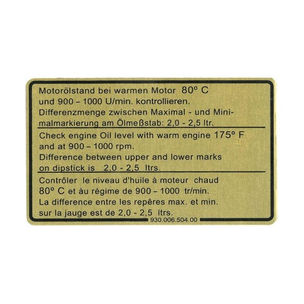 Etiquette adhesive, niveau huile moteur